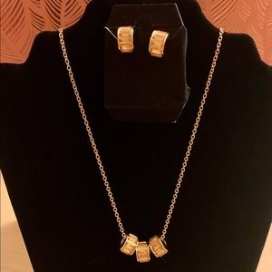 Gold Circle Necklace & Earring Set -Brand New